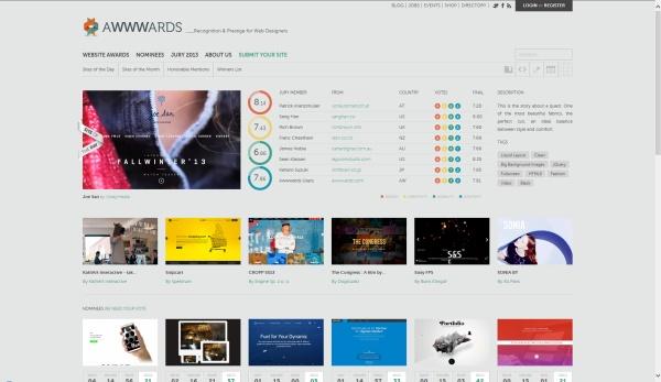 Site Internet AWWARDS