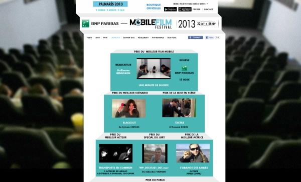 Site Internet du Mobile Festival Film