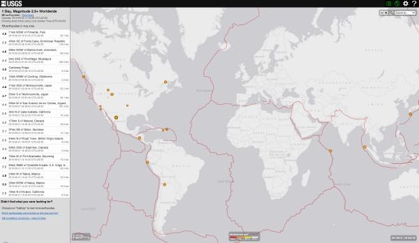 activité sismique mondial